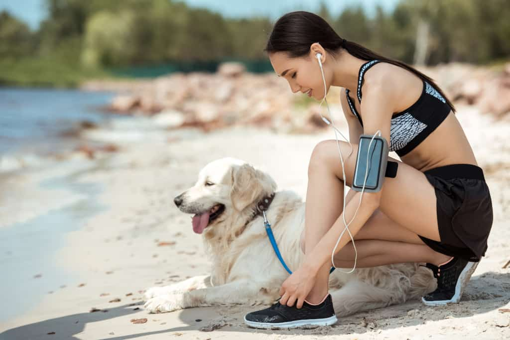 Lady Runs with Her Dog